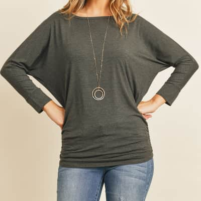 Jane 3/4 Sleeve Shirred Waist Top
