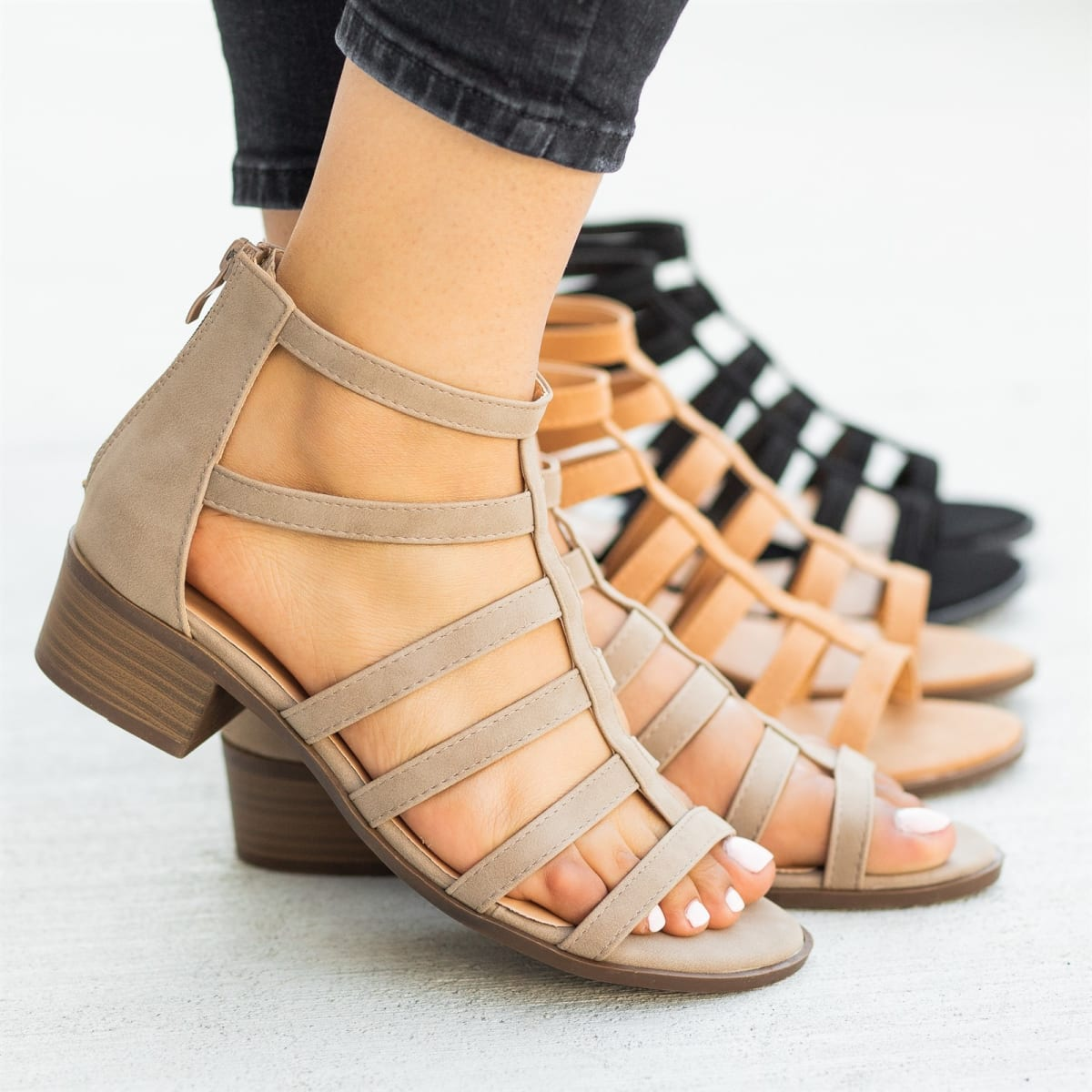 Heel I Low Caged Sandals 3Colors 8n0wkOPX