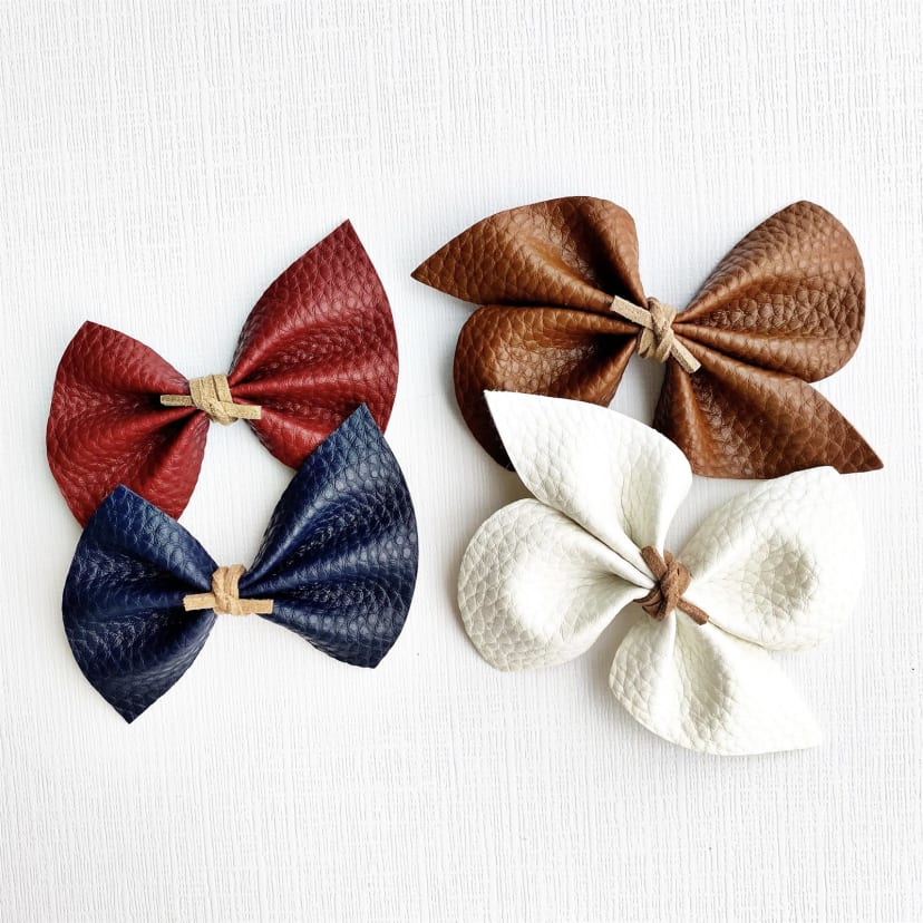 Vegan Leather 2 Pack Gold Double Bow Hair Clips