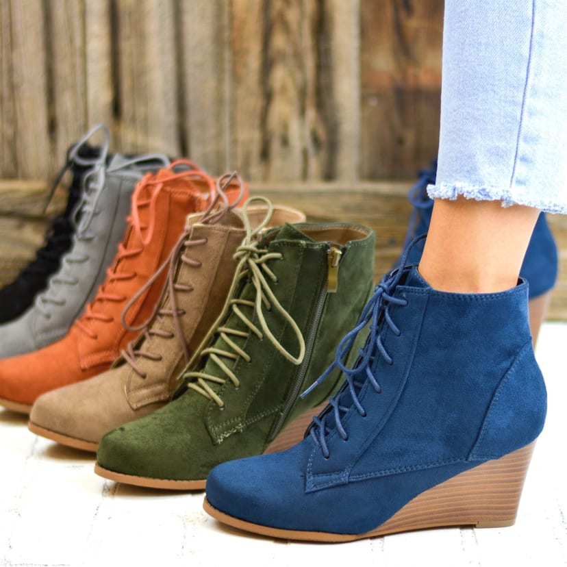 Lace-Up Wedge Booties | Jane