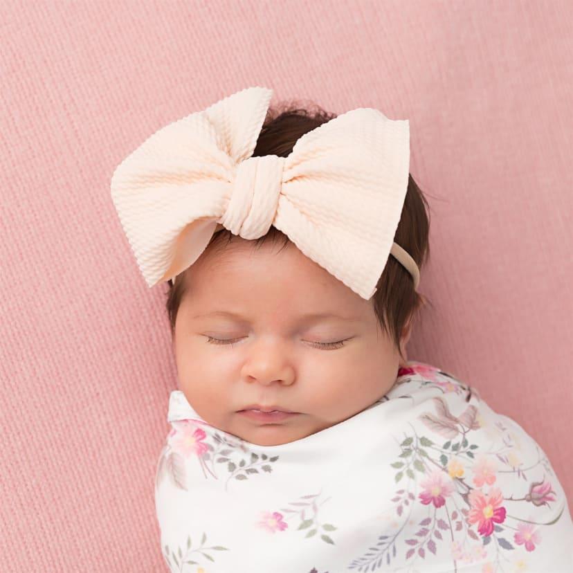 jersey knit baby girl beige messy bow headband