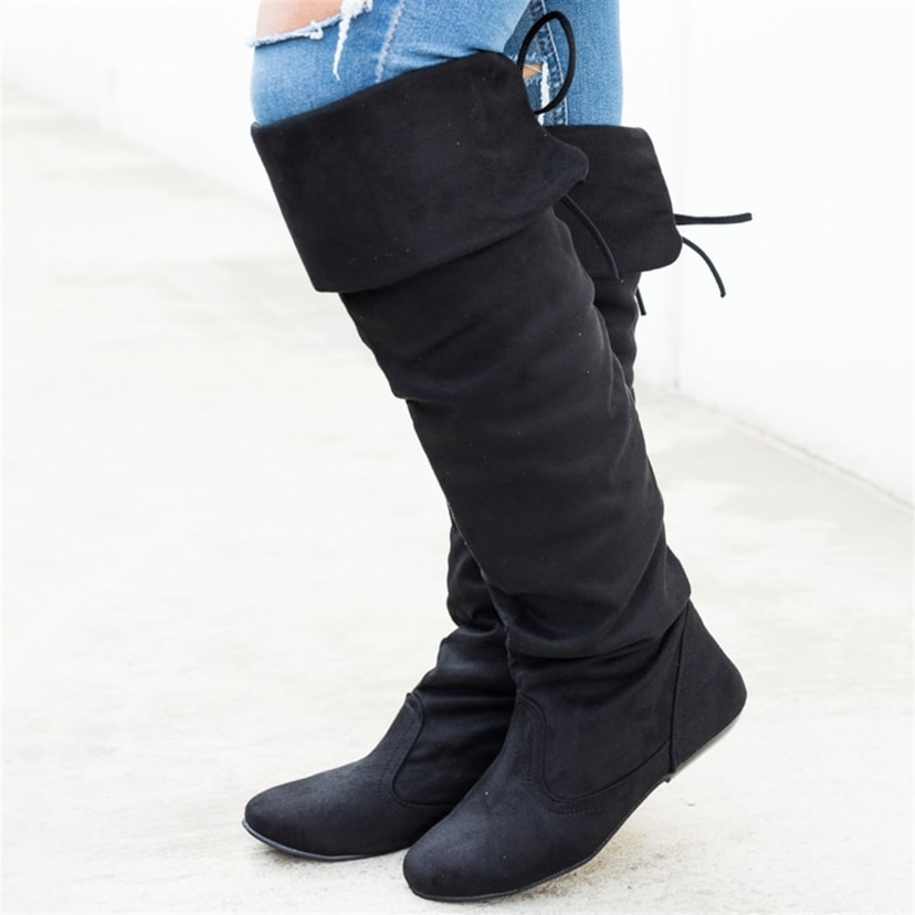Comfy Back Tie Over the Knee High Boots
