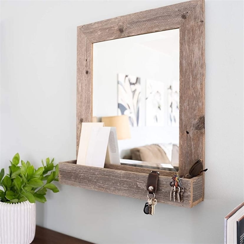 Rustic Farmhouse Large Mirror With Shelf Jane
