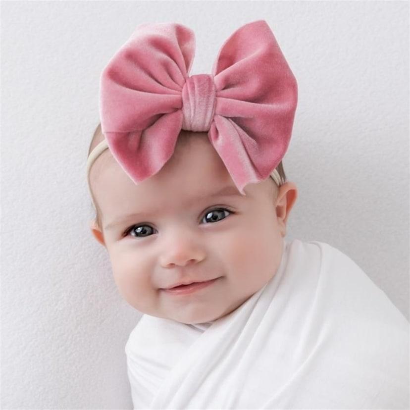 Messy bow baby velvet headband