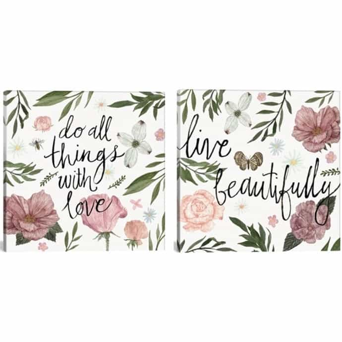 Floral Inspirational Quotes on Gallery Wrapped Canvas