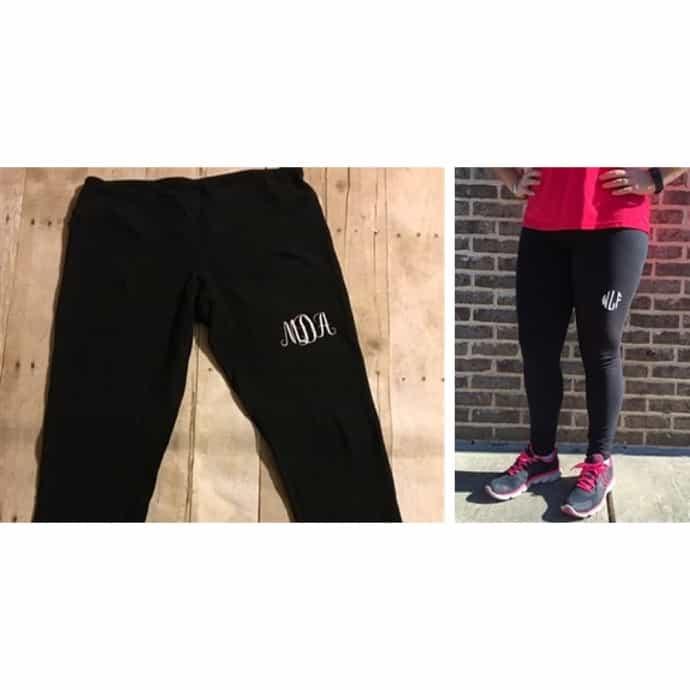 Athletic High Waist Below the knee leggings Athletic Monogram leggings Custom Monogrammed leggings personalized monogram pocket leggings
