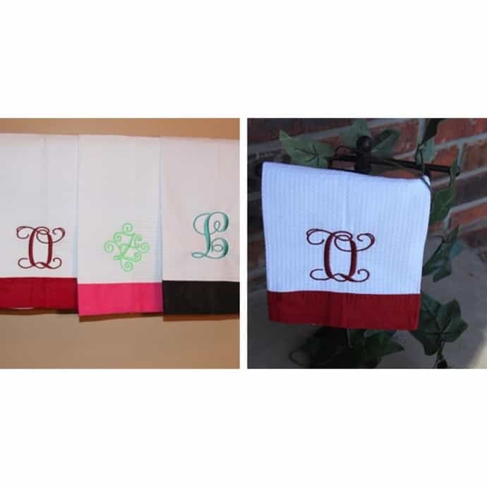 Monogrammed Kitchen Towels   Variety of Colors