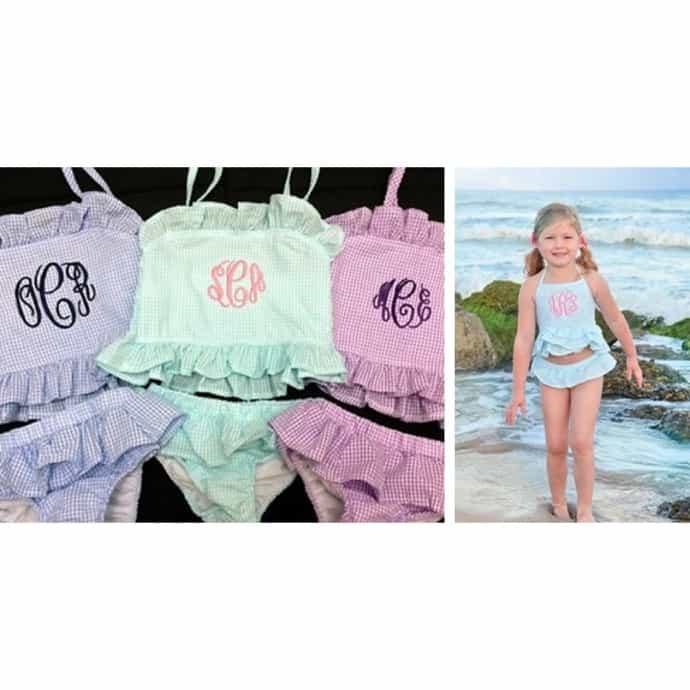 Little Girls Seersucker 2 Piece Monogrammed Swimsuit Jane