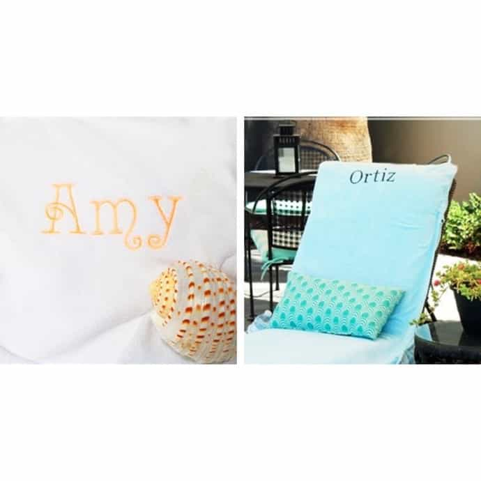 Marvelous Monogrammed Lounge Chair Towel Covers With Pockets Alphanode Cool Chair Designs And Ideas Alphanodeonline