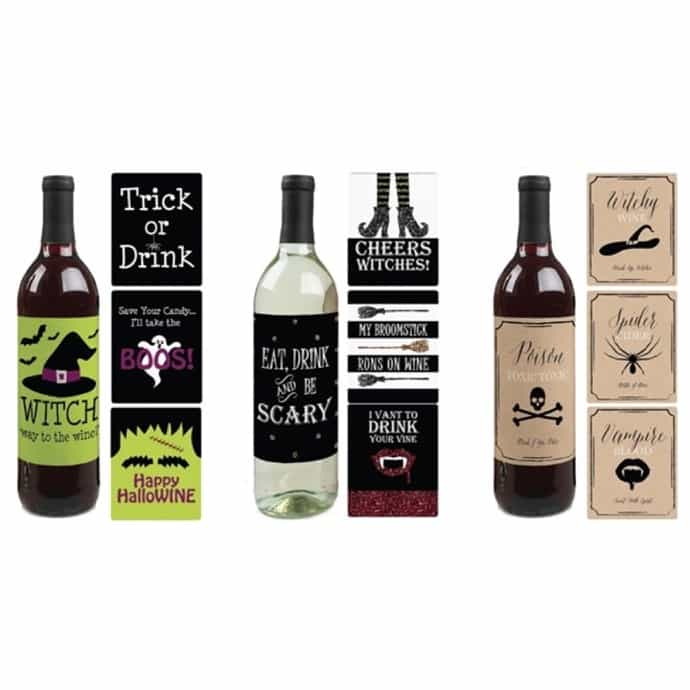 4 Halloween Wine Bottle Labels | 3 Different Styles