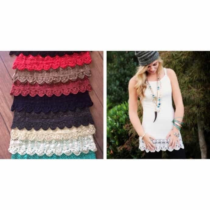 Crochet Lace Trimmed Extender Shorts Add Length to Shorts Rompers Dresses 6//8