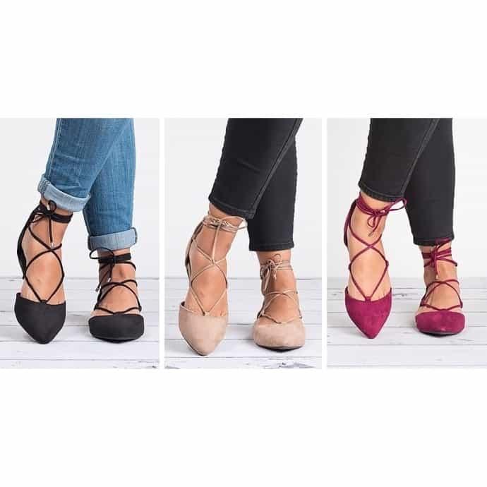 Lace Up Ballerina Flats | 5 Colors | Jane