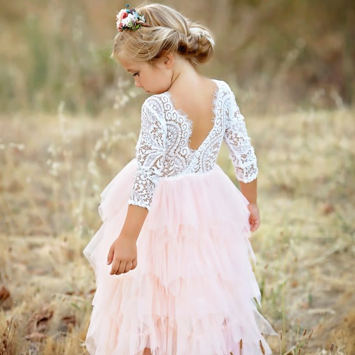 Girls Lace Tulle Dress