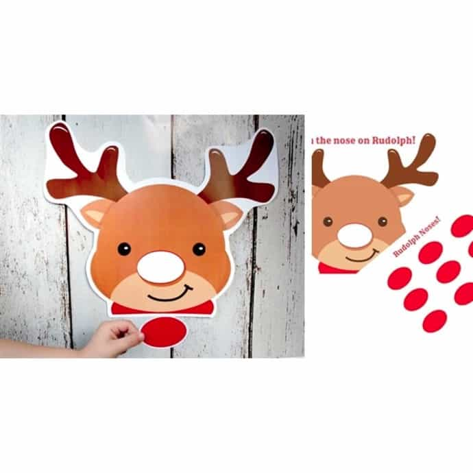 graphic about Pin the Nose on the Reindeer Printable known as PRINTABLE Pin the Nose upon Rudolph Recreation