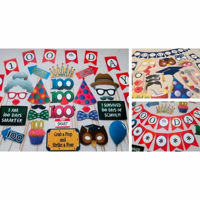 graphic about 100 Days Smarter Printable known as Printable Picture Booth Props - 100th Working day of College and Other Clroom Themed Sets