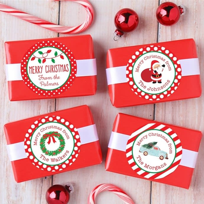 Christmas In July Party Favors.Personalized Christmas Labels Set Of 48