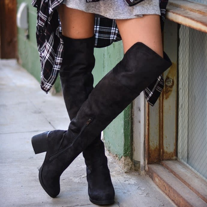 Faux Suede Knee Boot | Wide Calf | Jane