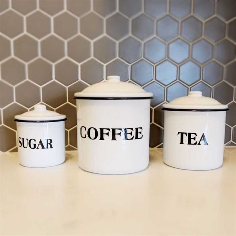 Metal Kitchen Canisters | Set of 3