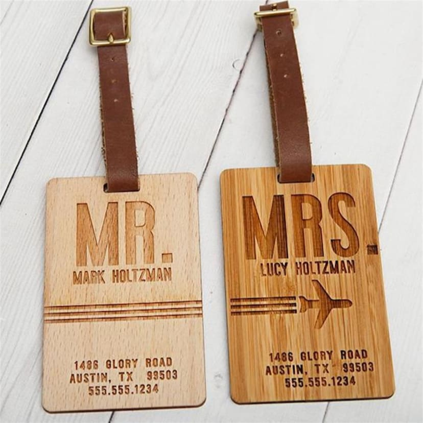 Personalized Wooden Luggage Tags | Free Shipping