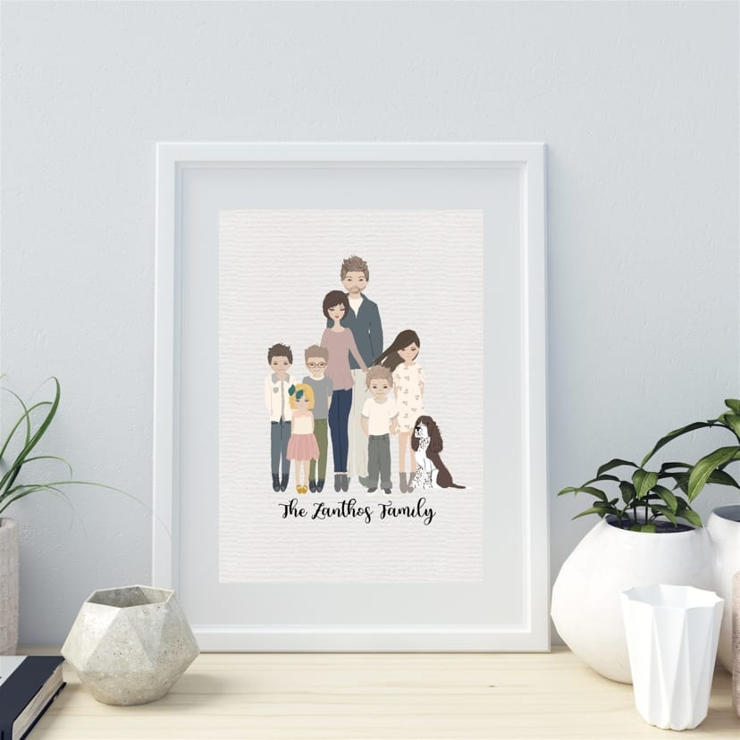 Family Cartoon Portrait Mother S Day Gift Jane
