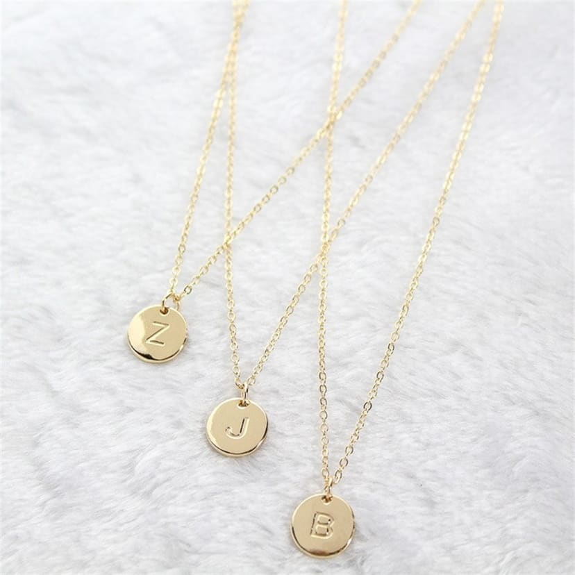 Initial Round Pendant Necklace Jane