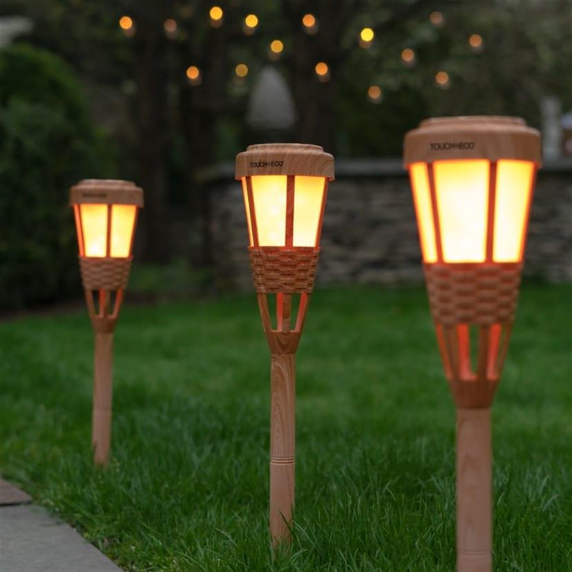 Solar Led Tiki Torch Lights Set Of 2 Free Shipping