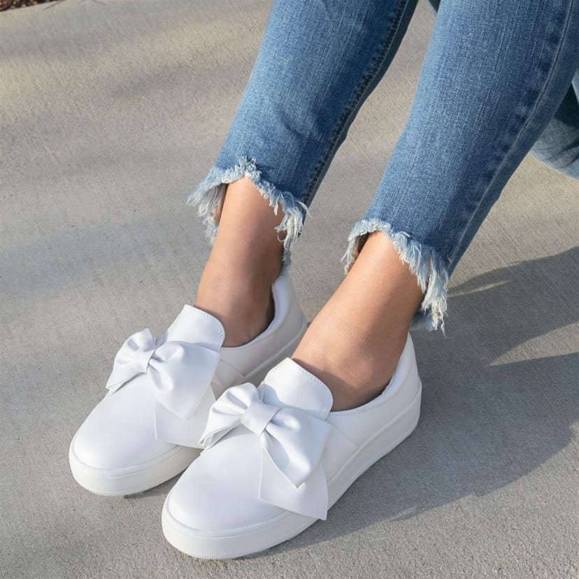 Adorable Bow Slip-On Sneakers   Jane