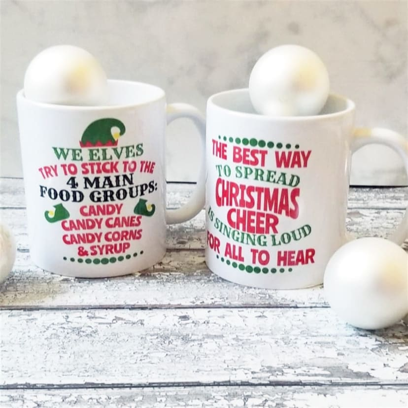 Christmas Mugs.Elf Inspired Christmas Mugs