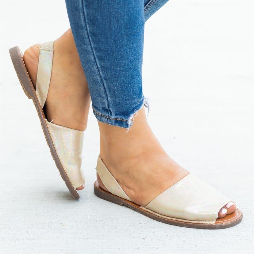 Peep Toe Slingback Sandal Flats   Jane