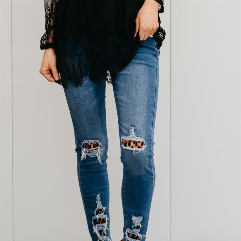Leopard Patch Distressed Jeans Jane
