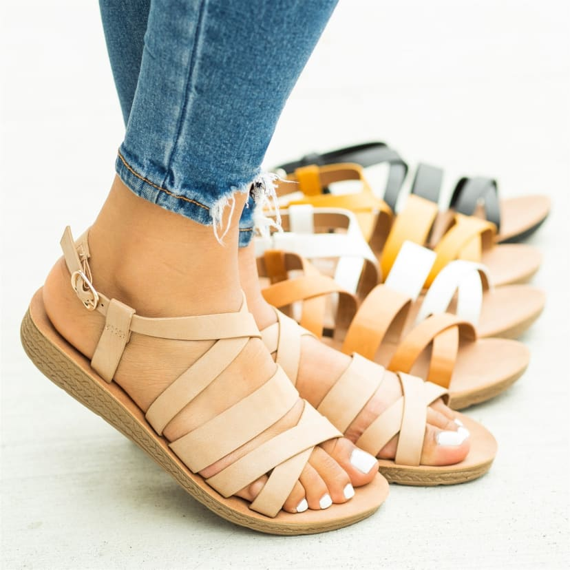 Comfy Strappy Open Toe Sandals | Jane