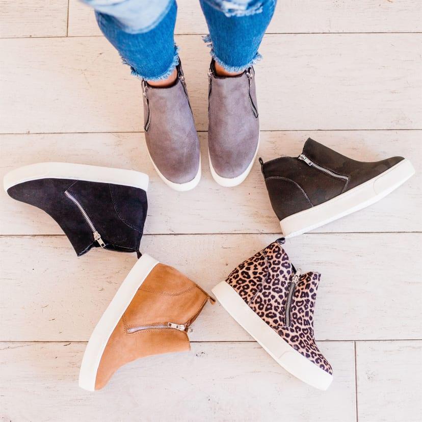 Side Zipper Wedge Sneakers | Jane