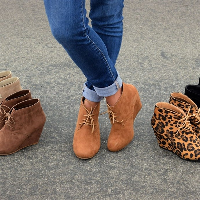 Lace-Up Wedge Booties   Jane