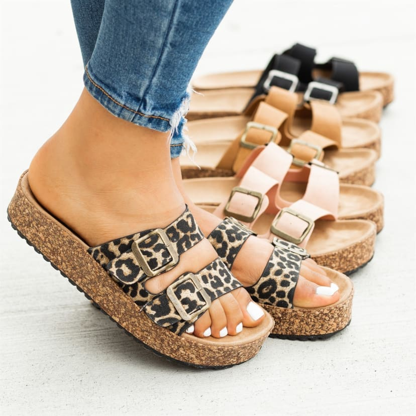 Double Buckle Platform Sandals   Jane