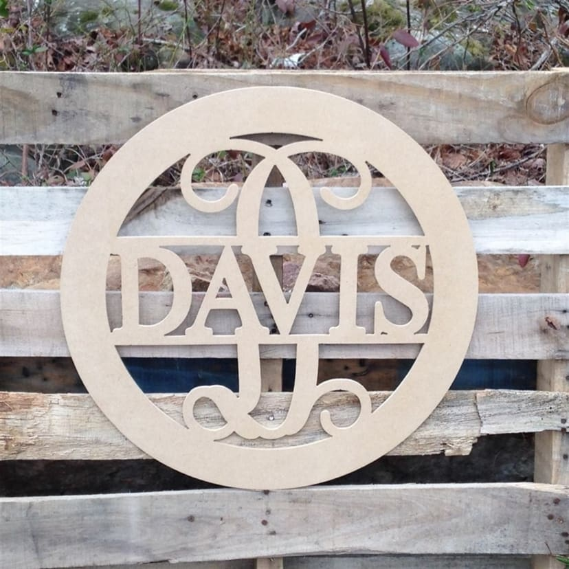 circle split letter Name 24 inch made of 1//4 MDF