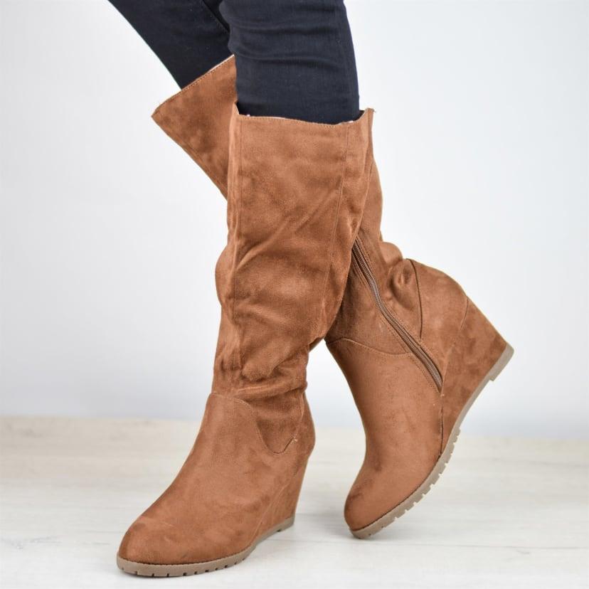 Lug Sole Wedge Boots | Wide Calf