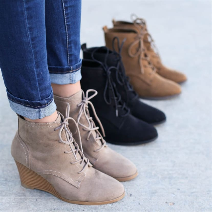 Levi Lace Up Wedge Booties   Jane