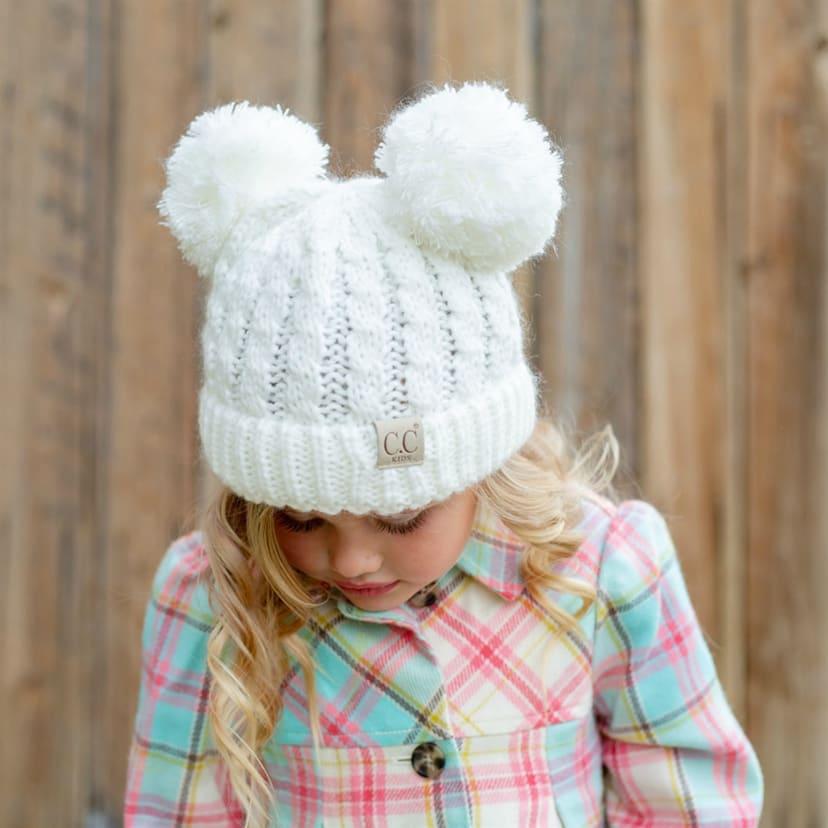 Children's Double Pom Pom Hats