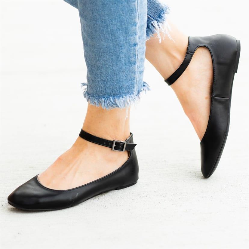 Ankle Strap Ballet Flats | Jane