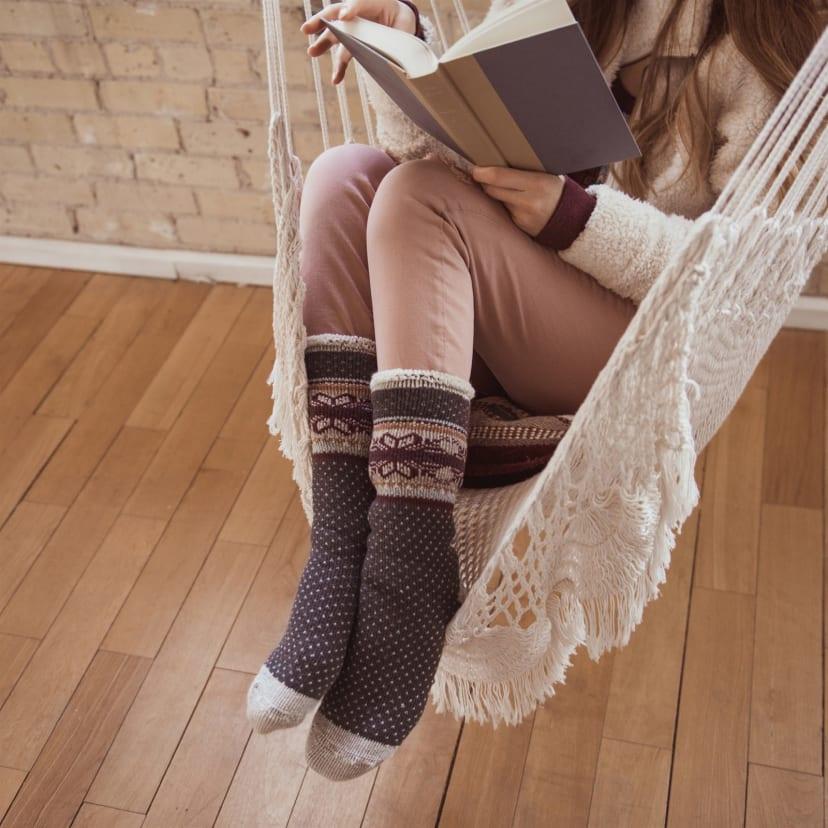MUK LUKS womens Womens 1-pair Heat Retainer Thermal Socks Slipper Sock