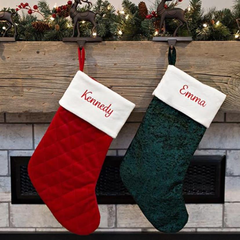 Red Velvet Christmas Stockings.Personalized Velvet Christmas Stockings Free Shipping
