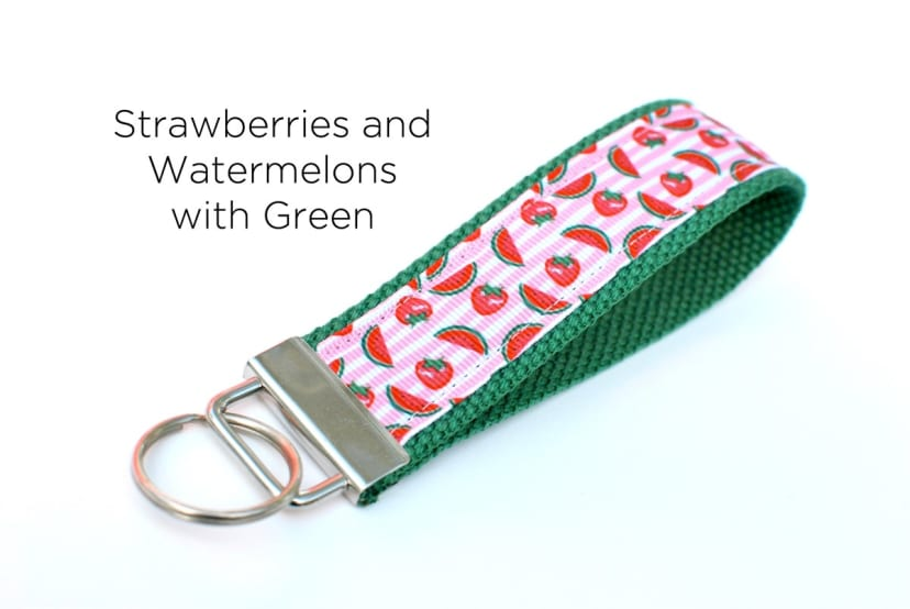 Key Fob Hand Made  Wristlet// Watermelon// Fuchsia// Green// Birthday// Graduation