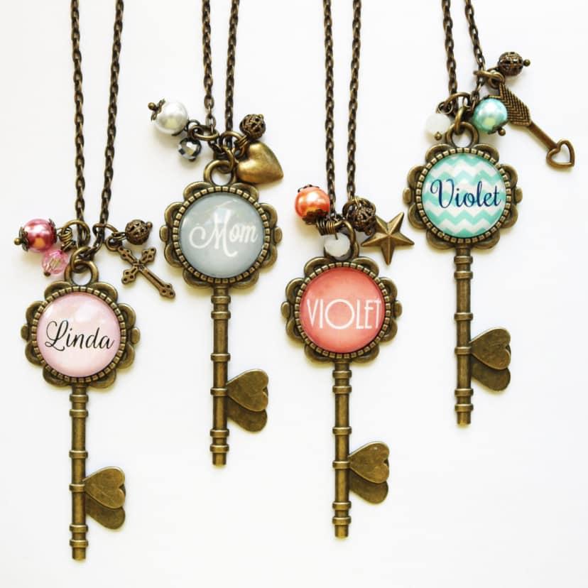 Monogrammed Skeleton Key Necklaces Pink or Mint