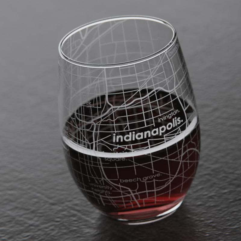 Home Town Map 15 Oz Stemless Wine Glass Set Of 2 Jane