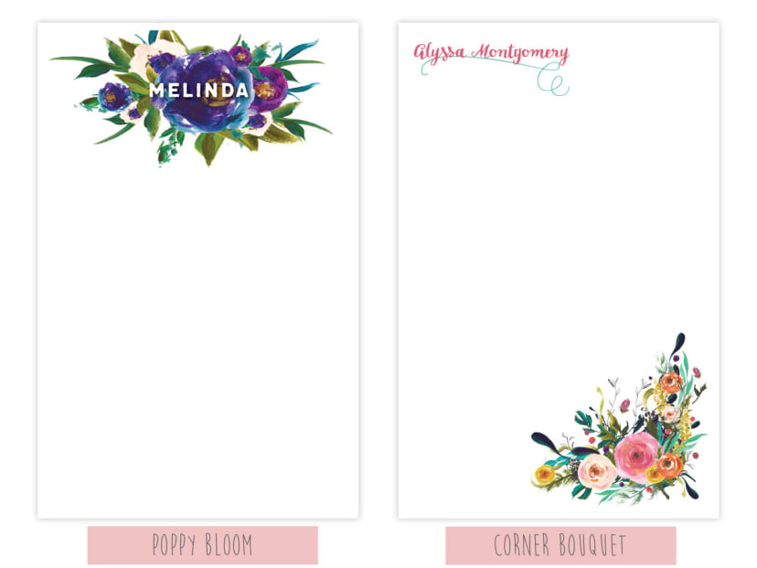 BLOOM Personalized Notepad Floral Pretty Letterhead