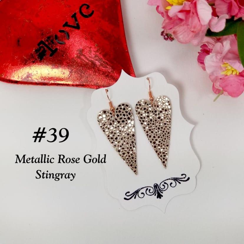 Handmade in the USA Art Glass Earrings 12mm Stainless Steel Heart Earrings Watercolor Rose Heart Earrings