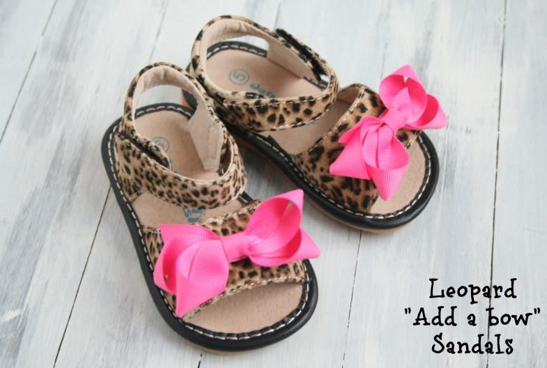 Leopard Sandals! ADD-a-BOW Girls Leopard SQUEAKY Shoes Toddler SIZES 4-8
