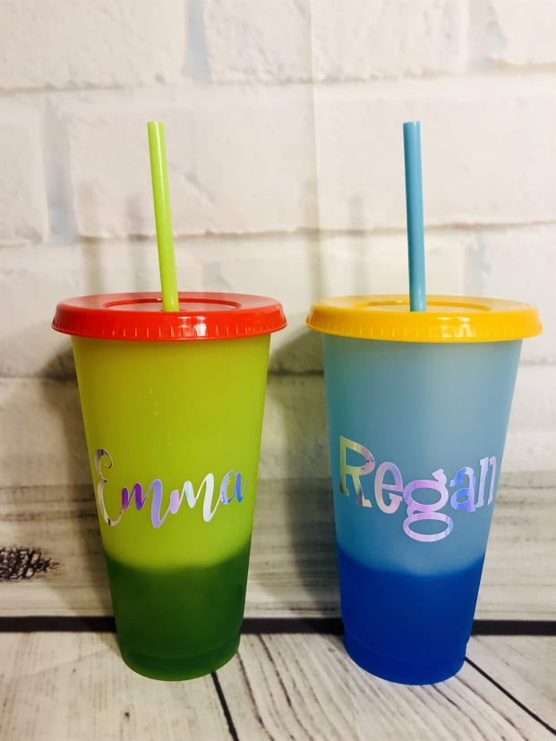 Personalized Color Changing Tumbler with Lid and Straw