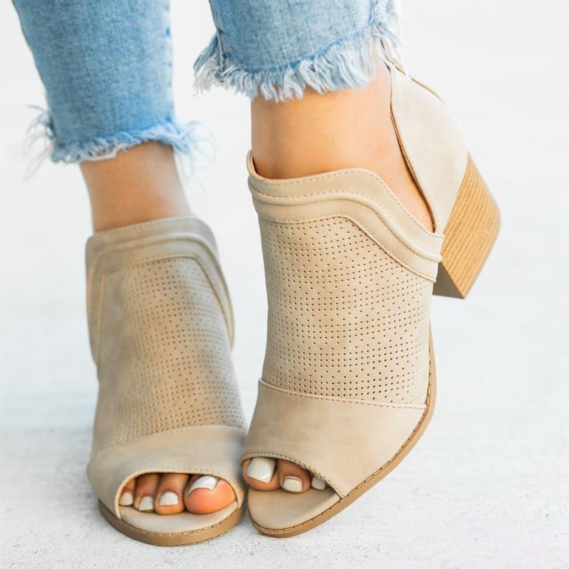 Side Cut Peep Toe Booties | Jane