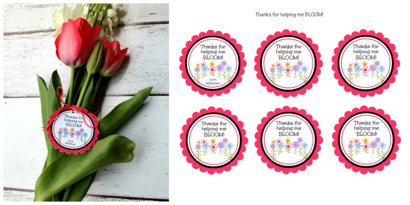 graphic about Thanks for Helping Me Bloom Printable called Instructor Appreciation Playing cards Printable Personalized